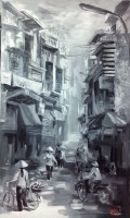 Nguyen Luu, Sunlight Morning on Street - ArtOfHanoi.com