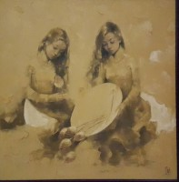 Phuong Quoc Tri, Girls with Lotus  - ArtOfHanoi.com