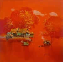 Dang Can, Sunset on River - ArtOfHanoi.com