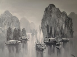 Nguyen Luu, Early Morning on Halong  - ArtOfHanoi.com